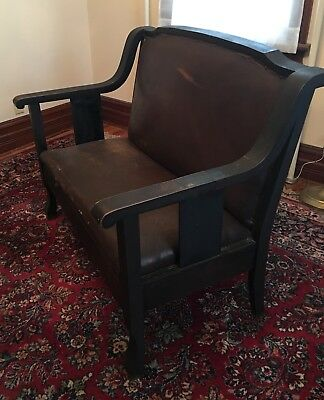 "Antique Arts and Crafts Style Mission Style Oak Love Seat 43""L"