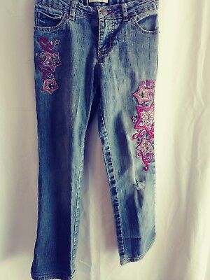 Cherokee Size 7 Girls Jeans Distressed Adjustable Embroidered Stars VERY CUTE!