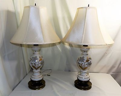 Pair Large Table Lamps, Brass Base and White Glass with Gold Floral Gilding