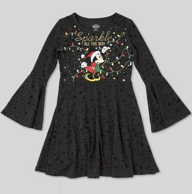 Girls Disney Minnie Mouse Christmas Dress Sparkle All The Way Clothes Nwt Xs 4-5