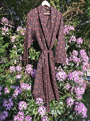 Delightfully Dapper Mid Century Vintage Silky Paisley Robe / Smoking Jacket/Gown