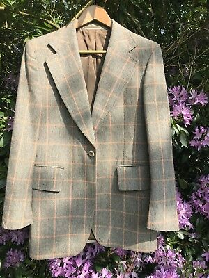 Super Stylish Original 1970s Vintage Mens Wool Blend Plaid Blazer/Jacket
