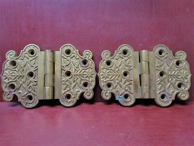 """RARE ANTIQUE READING HARDWARE VERY HEAVY CAST BRASS 4"""" x 6"""" HINGES #0"""