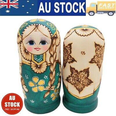 7Pcs/set Wooden Dolls Russian Nesting Babushka Matryoshka Hand Painted Toys AU