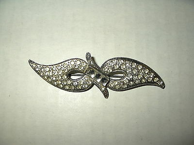 Vintage Art Deco Silvertone & Clear Rhinestone Abstract Bow Wings Brooch Pin