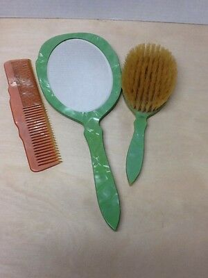 Vintage Green Plastic Art Deco Mid Century Vanity Mirror, comb  & Brush Set