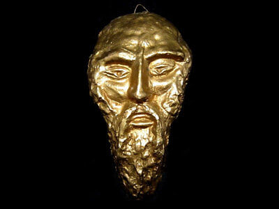 BEAUTIFUL ARTIST HAND MADE METAL MALE FACE WALL FIGURINE in AMAZING DESIGN!!