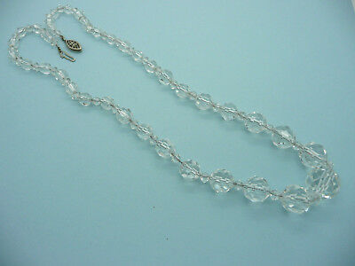 Vintage Crystal Graduated Bead Necklace, Clear Glass Faceted, Single Strand