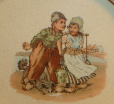 Old Vintage Dutch Boy & Girl w/ Dog Fetching Water Baby's Plate / Bowl Antique