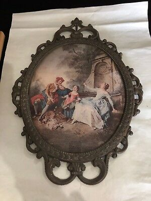 "17"" Vintage Antique Brass Cast Metal Picture Frame w/Convex Bubble Glass Conduct"