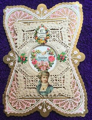 1880,s ANTIQUE VICTORIAN LAYERED VALENTINE  CARD=ORNATE VINTAGE POP-UP LACE