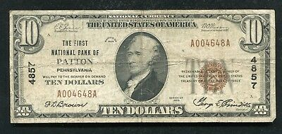 1929 $10 The First National Bank Of Patton, Pa National Currency Ch. #4857