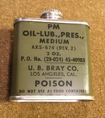 WW2 US Military Lube Oil Metal Tin For M1 Carbine Garand Rifle Pouch