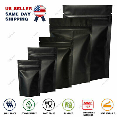 Assorted Size Matte Black Two Sided Foil Mylar Stand up Zip Lock Pouch Bag B01