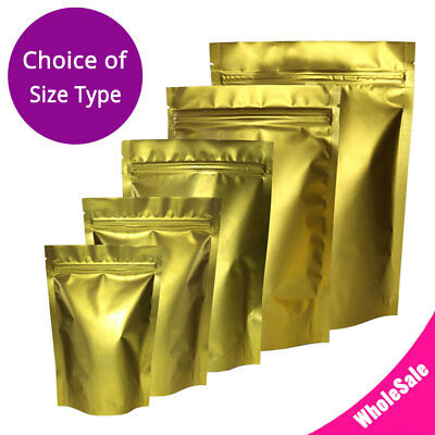 Assorted Size Matte Gold Two Sided Foil Mylar Stand up Zip Lock Pouch Bag G02