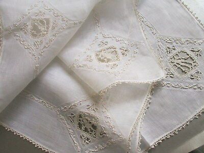 ANTIQUE LACE VOILE TABLECLOTH White Embroidered Figural Centerpiece Topper Vtg