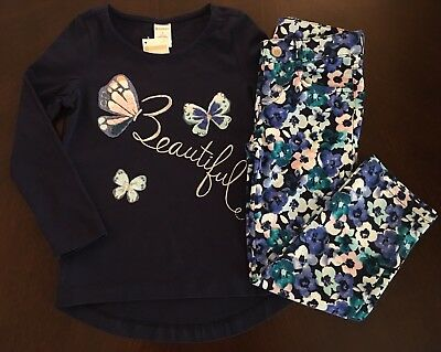 NWT Gymboree Girl Butterfly Garden Beautiful Tee /Floral Pants Outfit 4 10