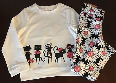 NWT Gymboree Girl Kitty In Pink Ivory Kitty Pals Top & Daisy  Pants Outfit 5T