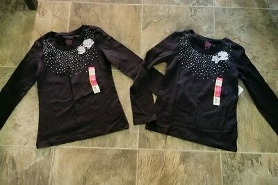 Girls Long Sleeved Faded Glory Shirts Size M (7-8) Lot Of 2 - New With Tags