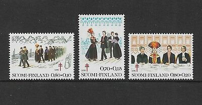 1979 TUBERCULOSIS RELIEF FUND WEDDING TRADITIONS, Finland, mint set of 3 MNH MUH