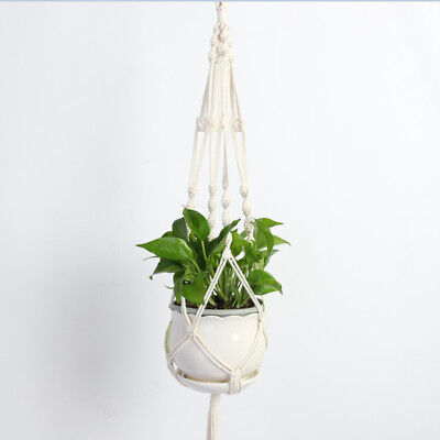 Vintage Macrame Plant Hanger Garden Flower Pot Holder Legs Hanging Rope Baskets4
