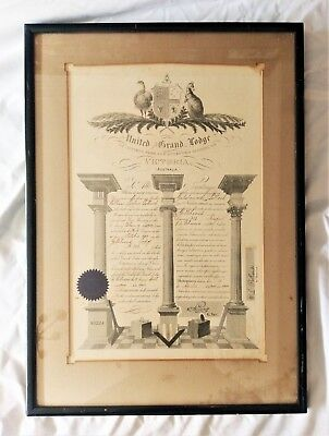 Vintage Masonic Document.  Framed 1939.  United Grand Lodge.  Print & Hand Inked