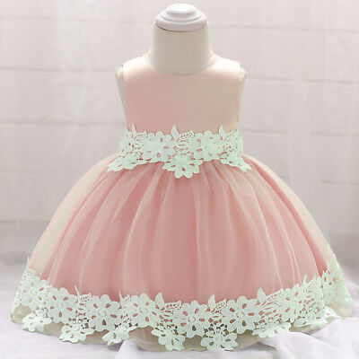 Baby Flower Girls Lace Dress Baptism Christening Wedding Bowknot Party Dresses