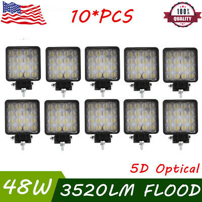 5D+ 10X 48W Square LED Work Light Flood Truck Driving Fog Lamp 4WD Boat 12V 24V