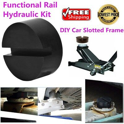 1 Pcs Black DIY Car SUV Slotted Frame Rail Hydraulic Floor Jack Disk Rubber Pad
