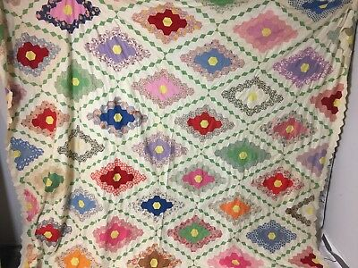 Vintage FeedSack Hand Sewn Diamond Flower Garden Hexagon Quilt Unfinished Top