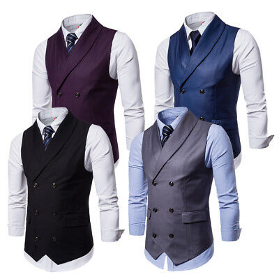 US Men's Vintage Double Breasted British Jackets Casual Waistcoats Formal Vests