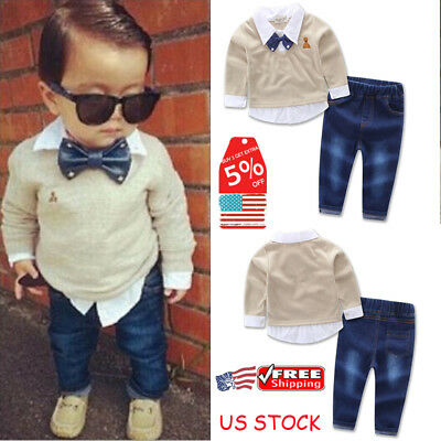 Toddler Kids Baby Boys Gentleman Clothes Set Bow Shirt+Jeans Wedding Party Suit