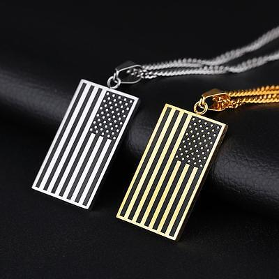 """Men Women Stainless Steel American USA Flag Dog Tag Pendant Necklace Chain 24"""""""