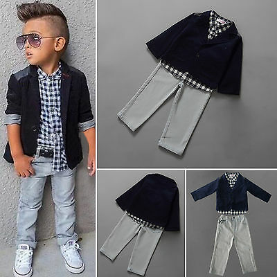 Kids Boys Formal Suit Christening Tuxedo Dress Jacket T-shirt Pants Outfits Sets