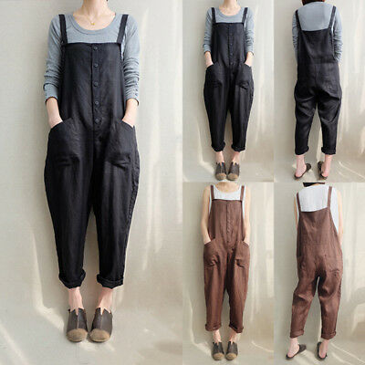 AU Women Casual Cotton Bib Pants Jumpsuit Playsuit Dungarees Plus Size Overalls