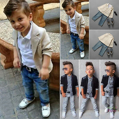 Kids Boys Blazer Shirt Tops Denim Pants Gentleman 3Pcs Outfits Clothes Set 1-8Y