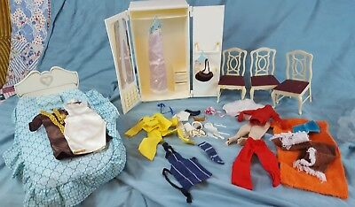 Vtg SINDY  Wardrobe, Bed Chairs Furniture Marx with Clothing and Accessories