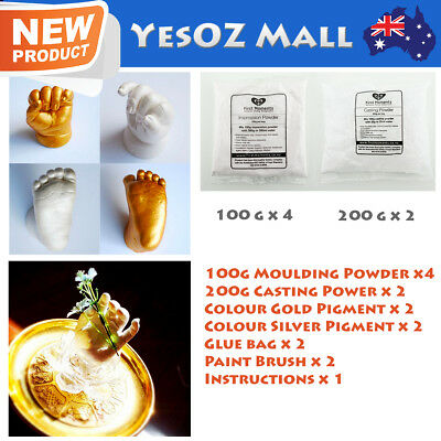 3D Baby Casting Kit 800g Moulding 800g Casting Gold/Pearl Pigment Hands and Feet