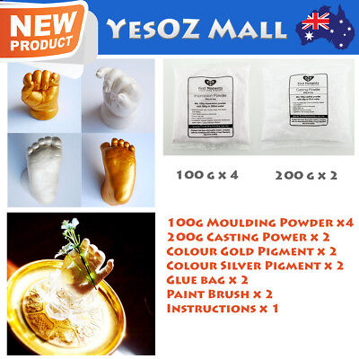 3D Baby Casting Kit 200g Moulding 400g Casting Gold/Pearl Pigment Hands and Feet