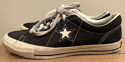 beaa60f7d5c4cc Rare Vintage Converse One Star MADE IN USA Black Suede Sneakers Shoes Size  11 US