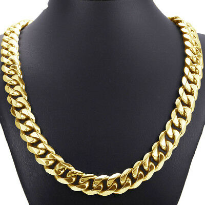 Top 316L Stainless Steel Heavy Link Gold Curb Cuban Chain Men Boy Necklace 8-40""