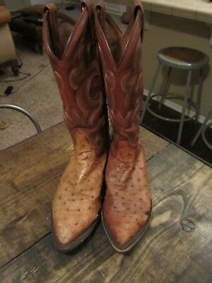 867a153cca4 VINTAGE EXOTIC LEATHER Cowboy Boots Mens Western Boots Ostrich Size 8.5 EE