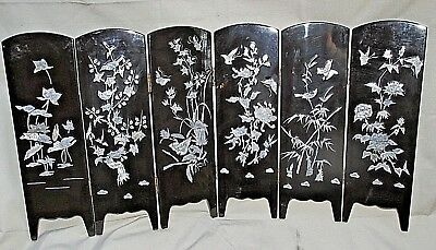 Asian Lacquer Panel SCREEN Mother of Pearl Shell Inlay & Gold Poi Fish 68CmL