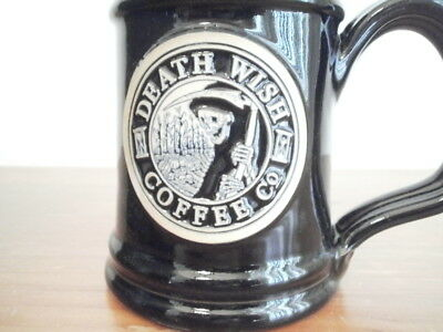 Death Wish Coffee Mug FREE SHIPPING ! Harvester of Souls Grim Reaper #1179 w/Box