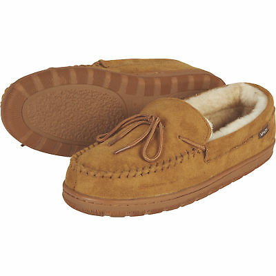 44909bc5a Apres by Lamo Men s House Fuzzy Merino Wool Moccasin Slippers- Chestnut  Size 7