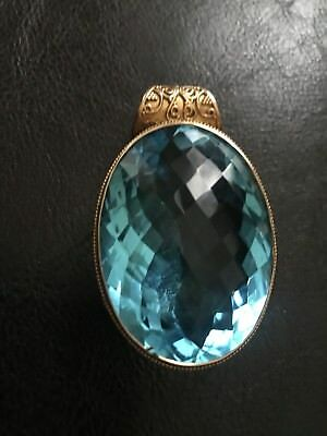 Blue topaz color Quartz & 100% 925 Sterling Silver With gold tone. vintage