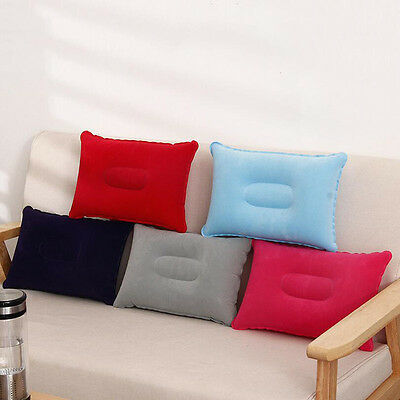 Outdoor Travel Folding Inflatable Pillow Flocking Cushion for Office Home Red