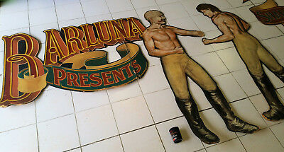 One Of A Kind Vintage Luna Park Hand Painted Art Murals Signs Sign Wood Wooden