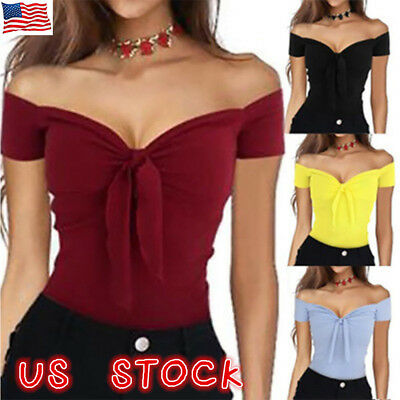 US Womens Off Shoulder Knot T-Shirt Ladies Short Sleeve Slim Tops Blouse Summer