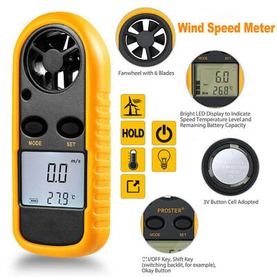 Digital LCD Anemometer Thermometer Air Wind Speed Meter Velocity Handheld Mini